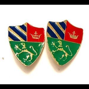Vintage griffin coat of arms earrings clip on